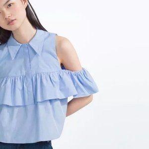 Zara Off-the-Shoulder Cold Shoulder Blouse